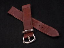 Vintage Ladies 15mm Brown Stitched Leather Watch Band Silver Tone Buckle NOS
