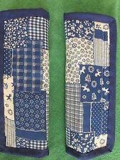 Lightly padded, Blue, Horses in Felds, Folk Art. Car Seat Belt Cover Pads. X2