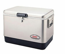 Coleman Stainless Steel Belted Leakproof 54-Quart Outdoor Ice Chest Cooler Box