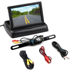 "Car Reverse Rear View 4.3"" Foldable Digital LCD Monitor Backup Camera Wired Kit"