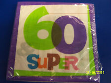 60 & Super! White Over the Hill Adult 60th Birthday Party Paper Luncheon Napkins