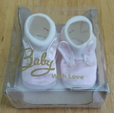 "Vintage ""For baby with love"" Newborn Size 1 Pink White Bunny Rabbit Shoes NIB Ol"