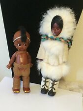 Two Vintage Sleepy Eyed Plastic Native American Indian Dolls Boy & Girl