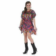 Wrangler Womens Rock 47 Western MULTI FEATHER Short Sleeve Dress - M - LJ7987M