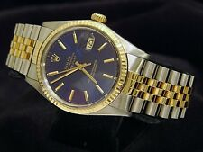 Rolex Datejust Men 18K Yellow Gold Stainless Steel Watch Blue Dial Jubilee 16013