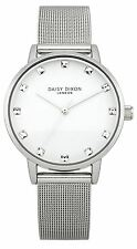 Daisy Dixon Ladies Silver Plated Mesh Bracelet Watch With Crystal Set White Dial