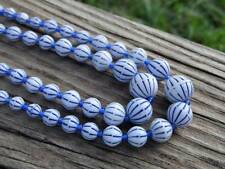 (222 BEADS BLUE WHT PAINTED MELON BEACH BALL VTG OLD GLASS BEAD NECKLACE AUSTRIA