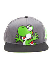 OFFICIAL NINTENDO'S SUPER MARIO BRO'S YOSHI AND EGG GREY SNAPBACK CAP (NEW)