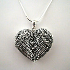Large Angel Wings Heart Locket - 925 Sterling Silver - Guardian Memorial Gift