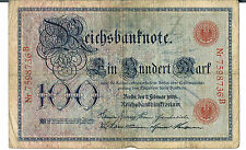 GERMANY BANKNOTE 100 P33b serial # 24 mm 1908 GVG-aF scarce - tiny centre hole