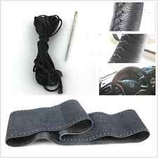 Auto Steering Wheel 100% Genuine Leather DIY Black Cover Non-Slip +Needle Thread