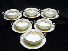 MINTON MALTA GOLD 6 FOOTED CREAM SOUP CUPS & SAUCERS # H 4901 GOLD TRIM ENGLAND