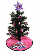 "NEW Authentic MONSTER HIGH 24"" Black Christmas Tree, Ornaments, Skirt, Topper FS"