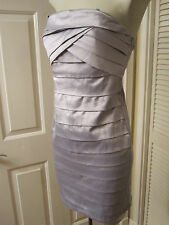 AnM SEXY SILVER STRETCH SATIN BANDAGE LAYERS STRAPLESS TIGHT DRESS SIZE XS S