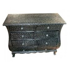Black Silver Embossed Metal Furniture 8 Drawer Chest Of Drawers