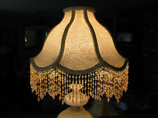 "Victorian French Large Floor Table Lamp Shade Poppy  ""Cream""  Fringe Tassels"