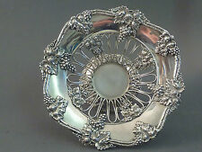PRETTY STERLING SILVER OPENWORK VINE PATTERN GRAPE BASKET