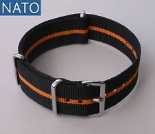 NATO 22mm noir-orange ( watch montre reloj strap bracelet correa cinturino )