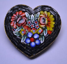 """VINTAGE 1 3/8"""" MOSAIC HEART PIN COLORFUL FLOWERS BLACK BACKGROUND MADE IN ITALY"""