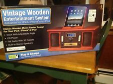 NEW In Box Vintage Wooden Entertainment systems for iPad, iPod, iPhone.  Beautif
