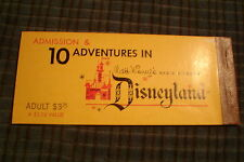 Vintage 50's Disneyland Admission 10 Adventures Ticket Book Stubb Adult Rare !