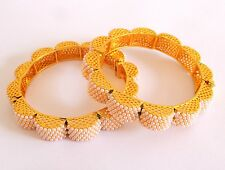 Antique Gold Plated Pearl beaded Bangle-Party wear Floral Shape Pearl Bangle