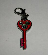 DISNEY MICKEY MOUSE HEART KEY WHITE STONES LOBSTER CLASP BRACELET CHARM