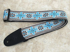 LM Guitar Strap MONTEREY Cream Turquoise Blue Vintage Style Woven Retro Jacquard