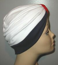 RED, WHITE & NAVY BLUE Knit Turban, Chemo Hat , Cancer Hat, Hijab, Alopecia