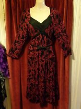 Monsoon Print Dress UK 16 Tea Jersey Floral Black Magenta Pleat Bust 1940's
