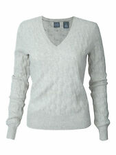 Women's Saks Fifth Avenue 100% Cashmere V Neck Sweater Cable White Grey Marled S