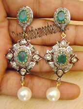 1.20ct Rose/Antique Cut Diamond Emerald Pearl Polki Victorian Look Earrings