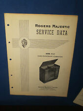 ROGERS MAJESTIC R237 RADIO PHONOGRAPH SERVICE MANUAL ORIGINAL FACTORY ISSUE