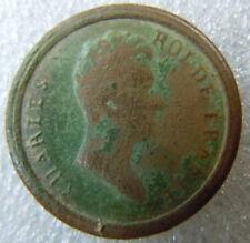 Bouton CHARLES ROI DE FRANCE  tête de profil  Original relique 17 mm