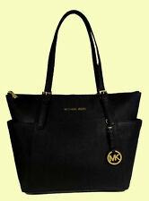MICHAEL KORS JET SET Black Saffiano Leather MD Tote Bag Msrp $248
