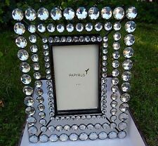 "New PAPYRUS Picture FRAME Easel ROUND Clear CRYSTALS 4"" x 6"" Retired $48 retail"