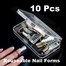 10 Pcs Reusable UV Gel Acrylic French Tips Nail Art Extension Guide Form Tool