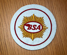 CLASSIC WHITE BSA MOTORCYCLE EMBROIDERED PATCH/GOLD STAR