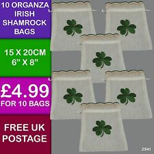 10  Irish Shamrock Clover Embroidered Organza  Drawstring Gift Bags ZS41