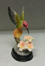 Hummingbird Figurine 3 White Flowers Outside Birds Nector