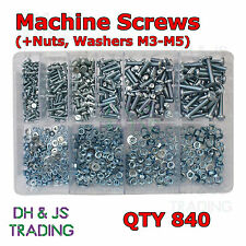 Assorted Box of Machine Screws Nuts & Washers M3 M4 M5 Round Head Slotted