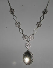 LACY FILIGREE VICTORIAN STYLE CLEAR ACRYLIC CRYSTAL DARK SILVER PLATED NECKLACE