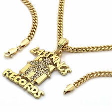 "Men's 14k Gold Plated ""Last Kings Records"" Pendant Hip-Hop 30"" Cuban Chain"