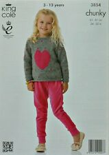 KNITTING PATTERN Childrens Long Sleeve Round Neck Heart Motif Jumper Chunky 3854