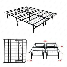 Modern Queen Size Bi-Fold Folding Platform Metal Bed Frame Mattress Foundation