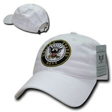 White United States US Navy Military Low Crown Polo Style Baseball Ball Cap Hat