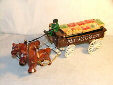 Vintage Cast Iron Horse Drawn Wagon Farm Fresh Fruit-Vegetable Vendor