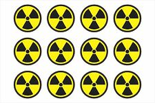 Radiation Radioactive Nuclear Symbol Sheet of 12 - Window Bumper Sticker HS5060