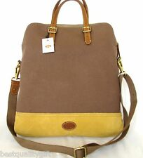 NEW FOSSIL TAYLOR FAB TAUPE,YELLOW+BROWN TRIM CANVAS CROSSBODY,TOTE,HAND BAG