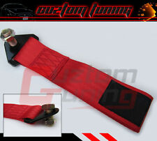 RED HIGH STRENGTH RACING TOW STRAP SET FOR FRONT/REAR BUMPER HOOK TRUCK/SUV